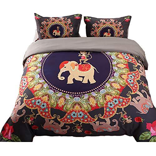 AnRui Bettbezug Set, Luxus Wendbar gebürstet Mikrofaser Tröster, Bettbezug Set Elefant AFFE Exotic Muster Boho Bettwäsche-Set King (Tröster Set Boho)