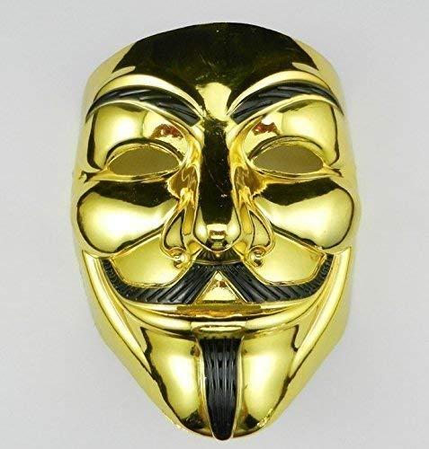 Crocodilian V wie Vendetta Maske Anonymous Maske Guy Fawkes Maske Halloween Gesichtsmaske 2018 VIP Gold Version