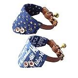 Fully 2er/Set Halsschal Bib Kragen mit Glocke Halstuch Halsschmuck Dreieck Halsband für Hunde Katze Verstellbar (Halsumfang: 22-27cm/8.66-10.62