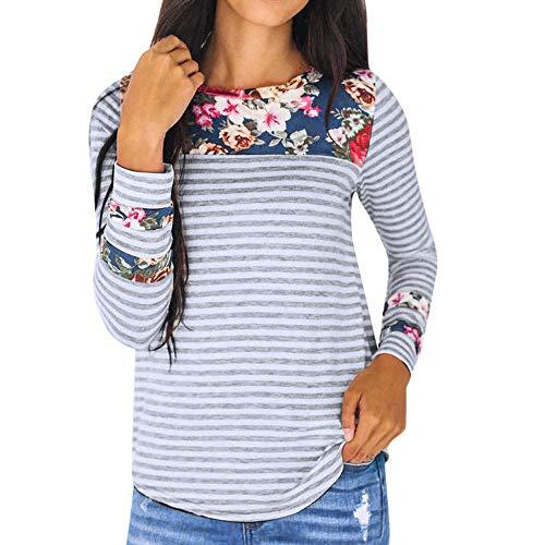 MIRRAY Damen Herbst Langarm Gedruckt Patchwork Pullover Asymmetrische T Shirt Tops Bluse