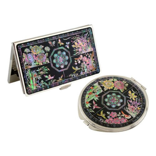 Set Miroir de Poche + Porte cartes de visite Nacre Collection fleur 4 SAGUNJA