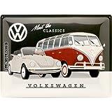 Nostalgic-Art 23255de Volkswagen VW de Meet The Classics | Retro Cartel de chapa | Vintage de cartel, decoración de pared, metal, 30x 40cm 30x 40cm, multicolor, 30x 40x 0.2cm