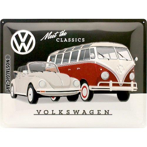 Nostalgic-Art 23255de Volkswagen VW de Meet The Classics   Retro Cartel de chapa   Vintage de cartel, decoración de pared, metal, 30x 40cm 30x 40cm, multicolor, 30x 40x 0.2cm