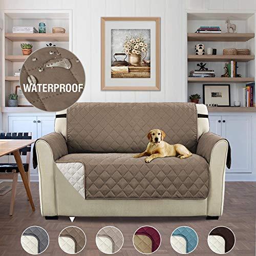 H.versailtex copridivano 2 posti impermeabile divano protector mobili coperture su due lati per cani / gatti letto con divano slipcovers 190 x 116cm, grigio marrone