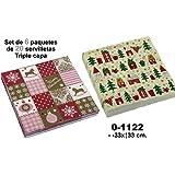 DonRegaloWeb - Set de 6 paquetes de 20 servilletas de papel 33x33cm. triple capa con 2 decorados de navidad con varios colores