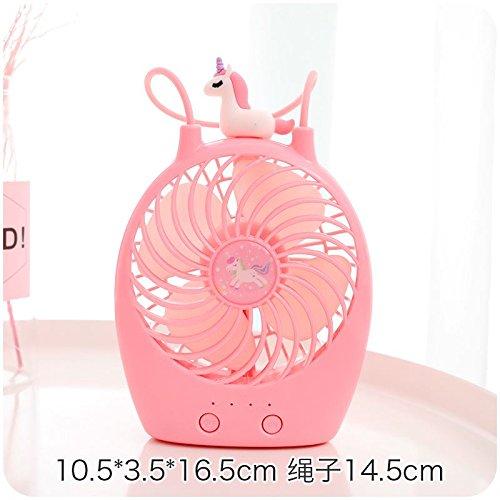 Preisvergleich Produktbild niu hai Handventilator Mini Ventilator Ladevorgang Portable Lanyard Ventilator Student Hand Stillen Kleinen Ventilator, Einhorn - Rosa