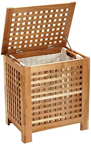 Relaxdays Wäschetruhe Walnuss mit Deckel, entnehmbarer Wäschesack, 70L, 52,5×39,5×55,5cm - 3