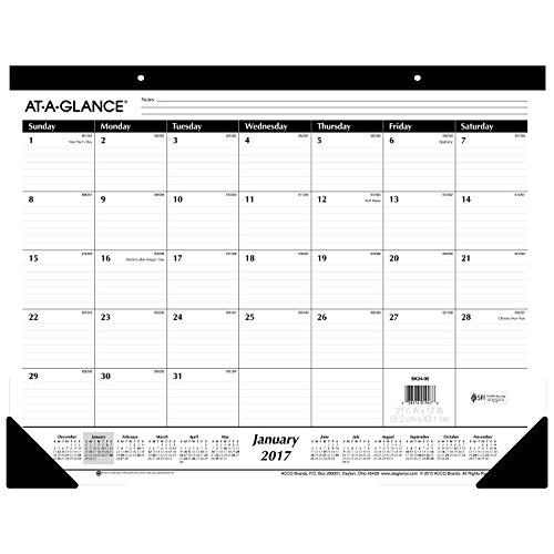 AT-A-GLANCE Desk Pad Calendar 2017, Monthly, Ruled, 21-3/4 x 17 (SK24-00) by At-A-Glance