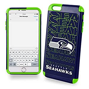 Forever Collectibles Dual Hybrid 2-Piece TPU Case for iPhone 6 Plus - Retail Packaging - Seattle Seahawks
