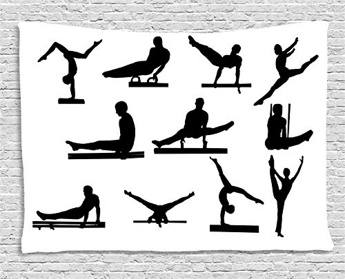 VTXWL Gymnastics Tapestry, Composition of Mens Pommel Horse Athlete Silhouettes with Various Poses, Wall Hanging for Bedroom Living Room Dorm, 80 W X 60 L Inches, Black and White