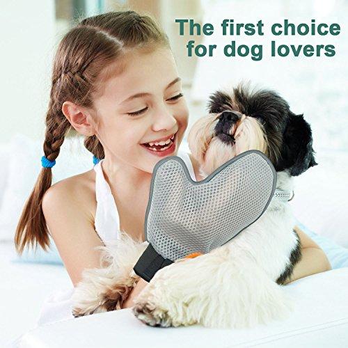 Poppypet Fellpflegehandschuh Bürste für Hunde, Fellpflege Hundebürste, Entfernt lose Haare, massiert Ihren Hund, mit Metall Noppen, Metallborsten, Massagehandschuh - 6