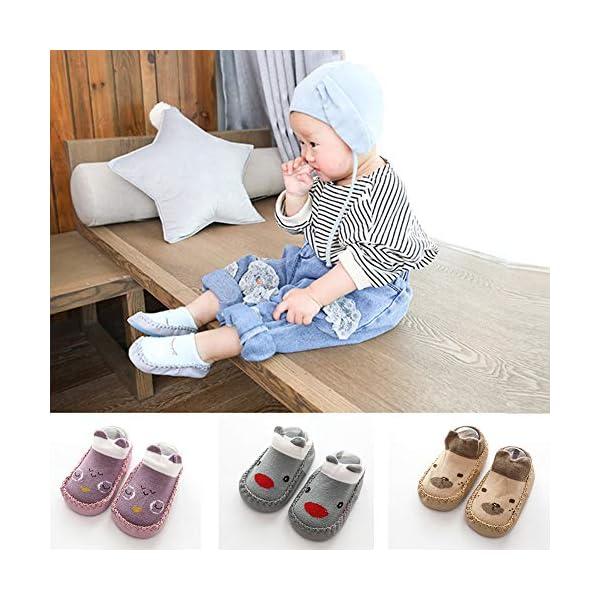 Happy Cherry 3Pcs Calcetines Prewalker para Recien Nacido Antideslizante Zapatillas de Piso Estampado Dibujo Animado… 3