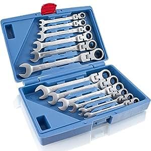 BITUXX 12 Teiliges fexible Gelenk Ratschenringschlüssel Ring-Maulschlüssel Ratschenschlüssel Ringschlüssel Knarren Gelenkschlüssel Werkzeug Set 72 Zähne / 5 Grad Rückstellwinkel/Größen 6 mm bis 19 mm