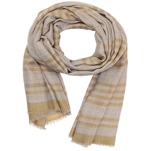 Streifen-schal Stricken (KASHFAB Kashmir Frauen Herren Winter Mode Streifen Schal, Wolle Seide stole, Weich Lange Schal, Warm Paschmina Senf)