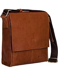 STILORD  Malte  Borsa messenger piccola da uomo in pelle marrone vintage  borsa a tracolla elegante borsa a mano per tablet iPad 9.7 pollici A5… 93c95bff409