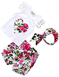 MagiDeal Bébé Fille T-shirt Dentelle Shorts Florale Motif Bandeau Mignon