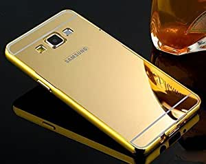 Lively Metal Bumper + Acrylic Mirror Back Cover Case For Samsung Galaxy Grand 2 / GT7106 / 7102 -Gold