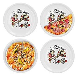Van Well 4er Set Pizzateller groß Ø 30.5 cm mit Küchenchef-Motiv Gastro-Zubehör Pizza-Bäckerei stabiles Porzellan-Geschirr Grill-Teller Servier-Platte Antipasti