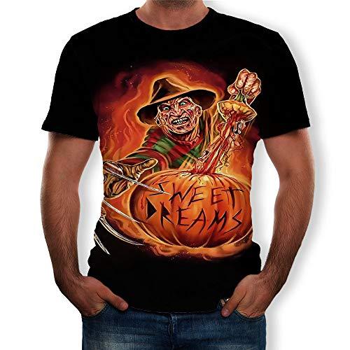 WANLN Rundhals Herren Kurzarm T-Shirt Horror Halloween 3D Digitaldruck,Schwarz,XL
