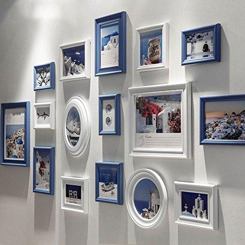 HJKY Photo Définir la Méditerranée mur de photos cadre en bois mur canapé convertible contexte cadre photo créatif américain décoré de murs blancs et bleus avec photos B