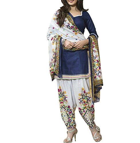 Fabfirki Women's Cotton Dress Material (fd0003-030_White Blue)