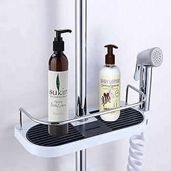 stainless steel shower caddy pole adjustable bathroom rack shelf and no drilling bathroom shower storage