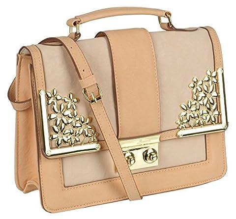EyeCatch - Womens Elegant Cream Peach Faux Leather Handbag Ladies Designer Shoulder Bag