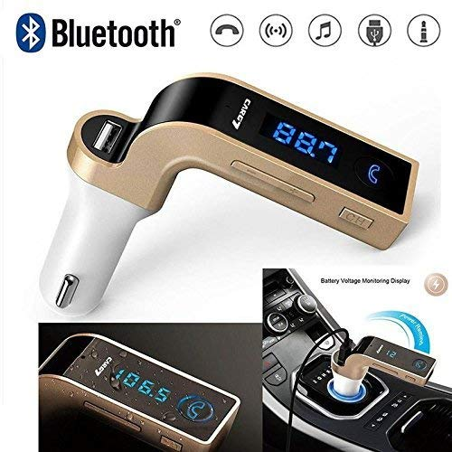 Teconica CG7 Bluetooth FM Transmitter Universal Wireless in-Car FM Adapter Car Kit with Hand Free Call Compatible with All Android, iOS & Windows Device (Assorted Colour)
