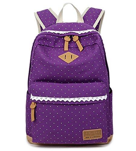 Fashion Mädchen Schulrucksack Damen Canvas Rucksack Teenager Baumwollstoff Schultasche Outdoor Freizeit Daypacks mit Schicker Lace Lila
