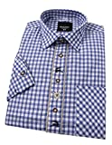 Moschen-Bayern Herren Hemd Trachtenhemd Kariert Oktoberfest Blau 45 46 XX-Large