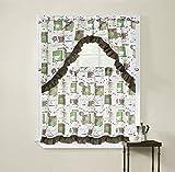 Regal Home Collections Cappuccino 3-teilig bedruckt Kontingent Vorhang und Swag Set, 54von 91,4cm, Grün