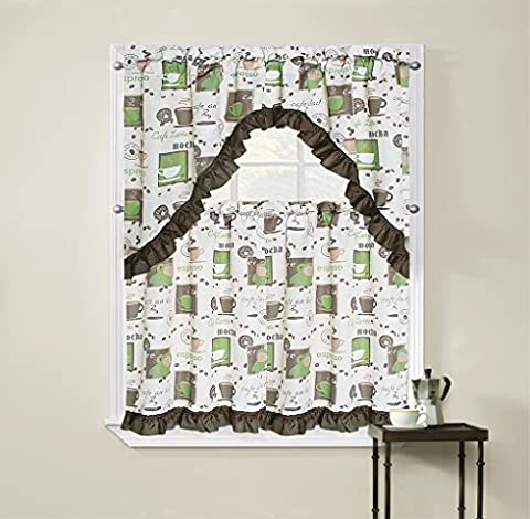 Regal Home Collections Cappuccino 3-Piece Printed Tier Curtain and Swag Set, 54 by 36-Inch, Green