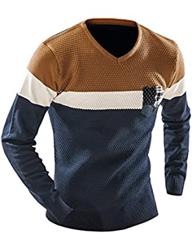 HY-Sweater Pull Cuello V Gran Campana de Cocina Version Coreana de Chandail Manga Larga Salvajes, Azul Marino,...