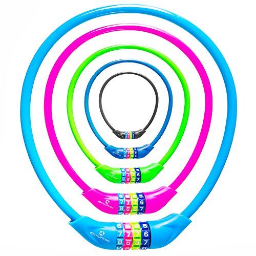 Fahrradschloss »Protector« Sicherheitsschloss / Zahlenschloss als Basisabsicherung bei niedrigem Diebstahlrisiko /ca. 70 cm lang, Durchmesser ca. 25 cm, Stärke ca. 3-4mm / erhältlich in 5 Farben (navyblau, pink, grün , rot, schwarz & himmelblau) daher ideal auch als Kettenschloss für Kinderfahrräder / pink