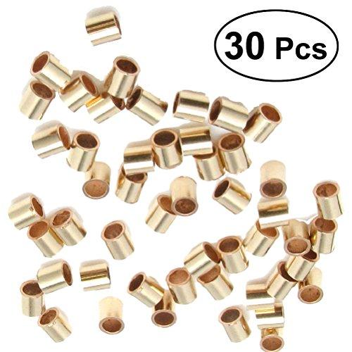 ULTNICE 30Pcs Quetschperlen Gold Crimp Beads für Schmuck Basteln -