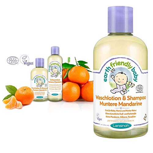 Lansinoh Earth Friendly Baby Waschlotion/Shampoo, Babyshampoo, 100% bio 250ml Mandarine