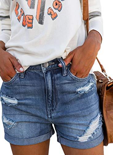 b796640a399ee1 Aleumdr Pantaloncini Donna Jeans Strappati Jeans Donna Corti Estate  Pantaloncini Denim Donna con Tasche - Blu
