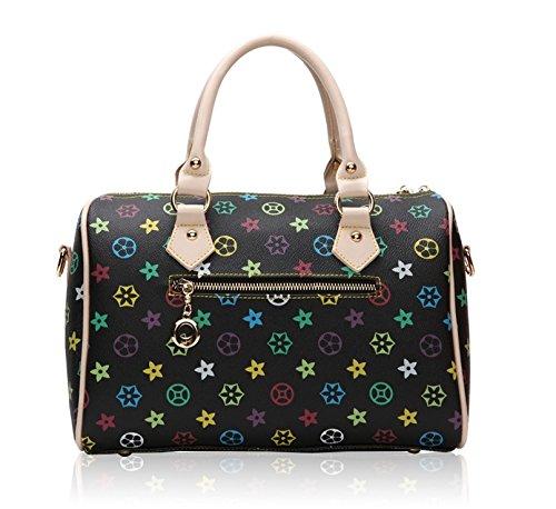 GetThatBag® Crystal Monogramma Sacchetto di spalla della borsa da bowling del barilotto Borse Bowling Nero
