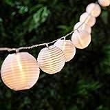 Lights4fun Guirlande Lumineuse LED 20 Lampions Chinois Blancs pour Intérieur/Extérieur