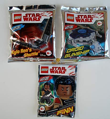 Lego Star Wars 3er Set Polybag Finn , Kylo Ren´s Shuttle , Droid Gunship und 2 Bauanleitungen, bmg2000 Goldstickeraufkleber Ovp auch für Adventskalender