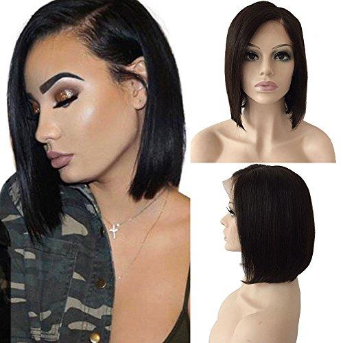 Perruque Bresilienne BOB Raie à Côté - Perruque Femme 100% Cheveux Humains Naturels Remy Raide - Lace Front Frontal Wig Naturel Human Hair (Densité: 130%, Longueur: 8\\