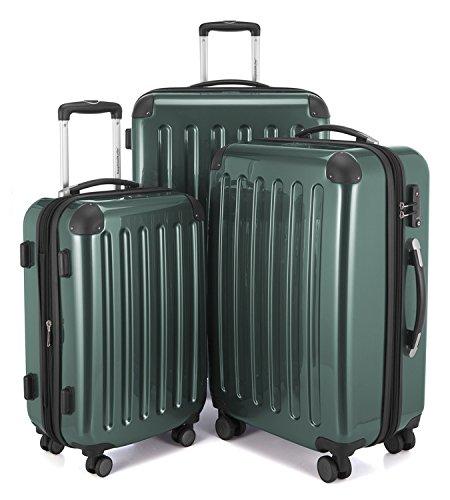 HAUPTSTADTKOFFER - Alex - Set di 3 valigie, TSA, Nero brillante, (S, M & L), 235 litri, Colore  Verde foresta