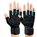 KXIN Männer Und Frauen Hantel Armband Rutschfeste Handschuhe, Ausrüstung Krafttraining, Atmungsaktive Anti-Rutsch-Sport Fitness Halbfinger-Handschuhe,Blue,XL
