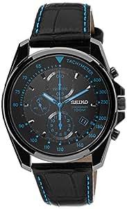 Seiko - SNDD71P1 - Montre Homme - Quartz Chronographe - Cadran Noir - Bracelet Cuir Noir