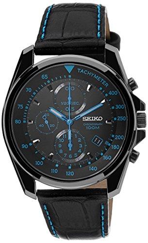 Seiko SNDD71P1 - Reloj analógico de cuarzo para hombre con correa de piel, color negro