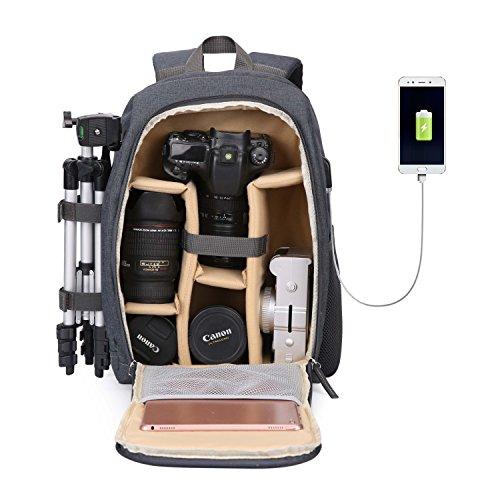 Beaspire Kamera Rucksack Wasserdicht Nylon DSLR Rucksack Profi Kameratasche mit Code-Schloss für Canon Nikon Sony Kamera Zubehör und Laptop Tablets Khaki Speicherkarte Canon T5i