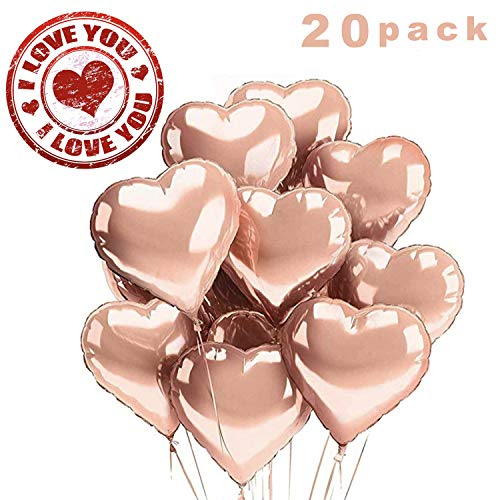 Sunshine smile 20 STK 18 Rosegold Zoll Herz Folienballon,Herz Helium Luftballons,Folienballon Hochzeit ,Folienluftballon,Herz Ballons