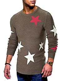 742d7384856 Happy-Day Men Autumn Long Sleeve Printed Pullover Knitted Sweater Top Tee  Outwear Blouse