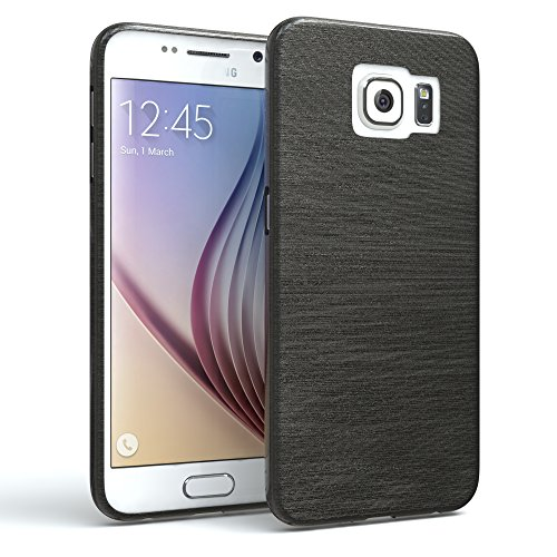 EAZY CASE Hülle für Samsung Galaxy S6 Schutzhülle, gebürstet, Slimcover in Edelstahl Optik, Handyhülle, TPU Hülle/Soft Case, Backcover, Silikonhülle Brushed, Anthrazit