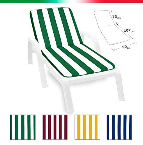 Cuscino copri sdraio lettino piscina mare giardino tessuto in cotone 100% made in italy universale mod.lima fasciato blu